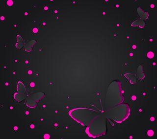 Обои на телефон черные, фон, розовые, дизайн, бабочки, абстрактные, pink black background