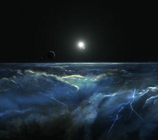 Обои на телефон гром, облака, небо, молния, луна, atmosphere