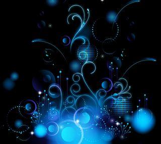 Обои на телефон светящиеся, цветы, синие, арт, абстрактные, art, abstract art