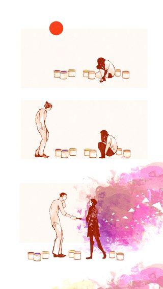 Обои на телефон рисунки, пара, любовь, арт, love, art