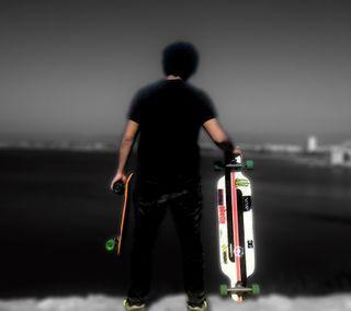 Обои на телефон скейт, рисунок, пляж, мальчик, salou, penny, longboard, blackwhite