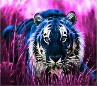 Обои на телефон фрактал, тигр, fractal  tiger