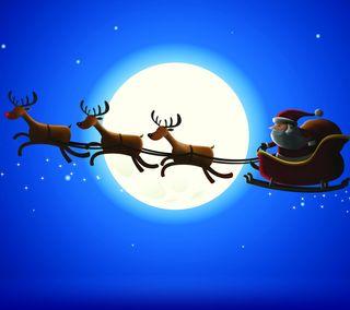 Обои на телефон санта, рождество, праздник, олень