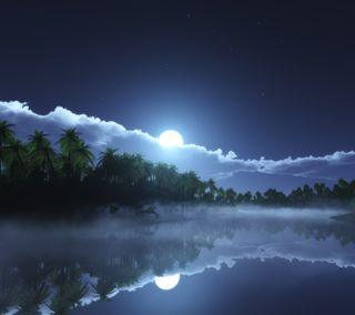 Обои на телефон холод, солнце, река, ночь, naturel, cold night