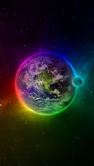 Обои на телефон планета, цветные, луна, крутые, красочные, космос, земля, звезды, дом