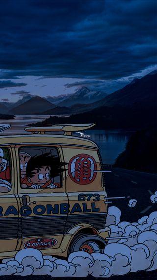 Обои на телефон драгонболл, японские, улица, пейзаж, мяч, машины, дым, дракон, горы, гоку, аниме
