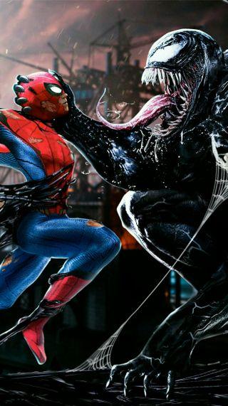 Обои на телефон танос, человек паук, супергерои, мстители, марвел, железный человек, воин, веном, spiderman-venom, marvel, ironspider