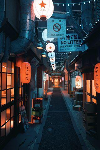 Обои на телефон японские, alleyway, alley