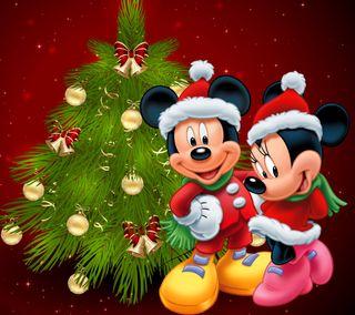 Обои на телефон минни, украшение, счастливое, рождество, мультфильмы, микки, дисней, дерево