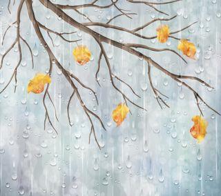 Обои на телефон природа, осень, листья, дождь, ветви, векторные