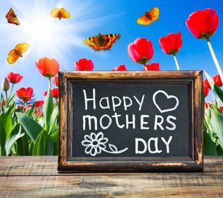 Обои на телефон тюльпаны, счастливые, матери, мама, день, весна, бабочки, happy