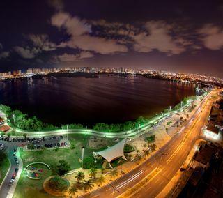 Обои на телефон бразилия, трава, ночь, небо, город, горизонт, вода, skyline, brazil at night