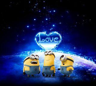 Обои на телефон валентинка, синие, сердце, небо, миньоны, милые, любовь, звезды, love