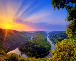 Обои на телефон солнечный свет, река, озеро
