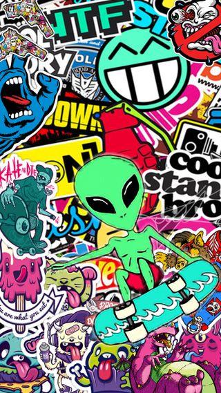 Обои на телефон пришелец, тема, сумасшедшие, стикеры, скейт, наклейки, крутые, классные, зомби, rockstar, knuckles, crazy stickers
