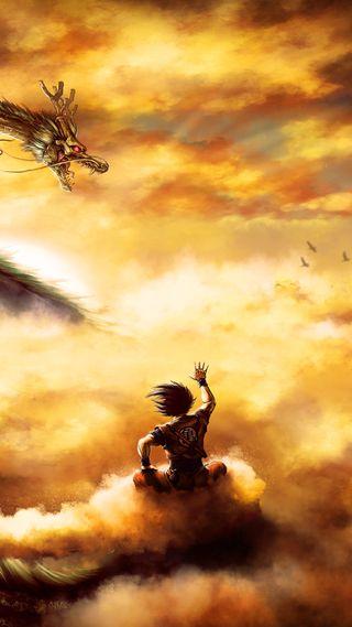 Обои на телефон полет, мяч, дракон, гоку, shenron, goku on nimbus, dragon