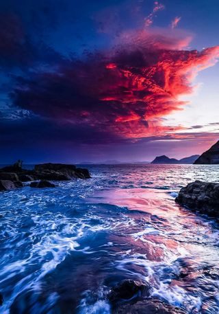 Обои на телефон hd, небо, пейзаж, вода, море, восход