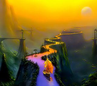 Обои на телефон лодки, фантазия, новый, арт, hd, fantasy bridges boat, art