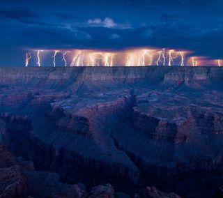 Обои на телефон утес, гром, синие, освещение, облака, лучи, луч, moutains, hd, 3д, 3d lighting rays, 2013