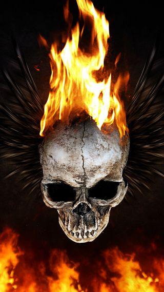Обои на телефон голова, череп, пламя, огонь, красота, дизайн, арт, flaming skull