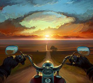 Обои на телефон поездка, байк, закат, дорога, длинный, bike ride