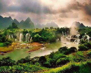 Обои на телефон джунгли, река, природа, озеро, лес, водопад, sunlights, nature waterfalls