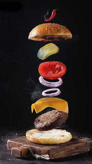 Обои на телефон полет, еда, красые, дым, flying burger
