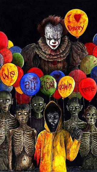 Обои на телефон дети, шары, фильмы, танцы, пеннивайз, оно, мы, клоун, we all float, float, derry
