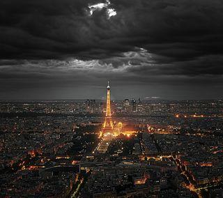 Обои на телефон эйфелева башня, франция, париж, ночь, город, башня