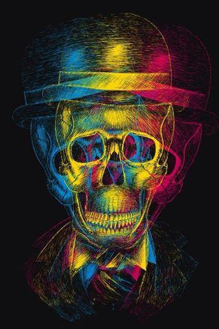 Обои на телефон вечеринка, череп, красочные, party skull