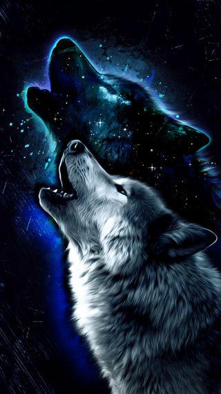 Обои на телефон дикие, фантазия, синие, рисунки, животные, волк, арт, hd, art