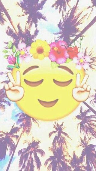 Обои на телефон эмоджи, лето, цветы, пляж, деревья