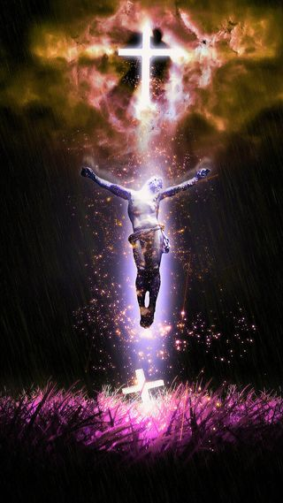 Обои на телефон крест, трава, свет, небеса, исус, гром, блестящие