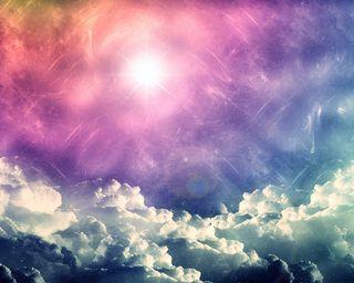 Обои на телефон цветные, огни, облака, красочные