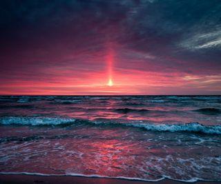 Обои на телефон волны, солнце, пляж, закат