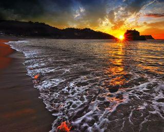 Обои на телефон солнце, раковина, пляж, песок, море, закат, волна, sun and sand, sea shell