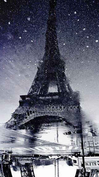 Обои на телефон эйфелева башня, снег, париж, башня