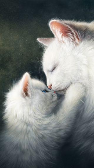 Обои на телефон семья, милые, малыш, кошки, котята, коты, животные, белые, mum