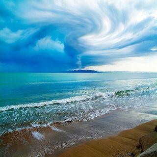 Обои на телефон штормовой, погода, пляж, океан, облака, море, дождь, storms
