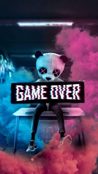 Обои на телефон рисунки, синие, розовые, мультфильмы, медведь, игра, высказывания, game over, came over