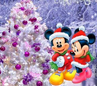 Обои на телефон счастливое, рождество, микки, маус, зима, дисней, 1440x1280px, disney