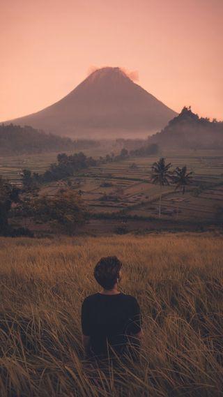 Обои на телефон японские, романтика, одиночество, мальчики, любовь, капюшон, грустные, горы, вулкан, mount, love