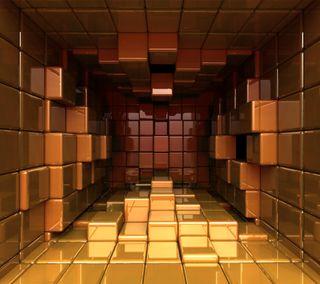 Обои на телефон кубы, золотые, абстрактные, 3д, 3d