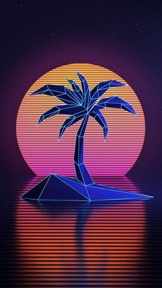 Обои на телефон фиолетовые, розовые, праздник, пальмы, остров, лето, закат, дерево, вода, арт, абстрактные, s8, s7, art, 3д, 3d