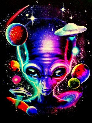 Обои на телефон солнечный, система, пришелец, планета, нло, космос, вселенная, alien universe