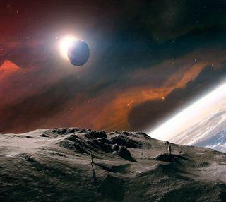 Обои на телефон прогулка, солнце, луна, земля