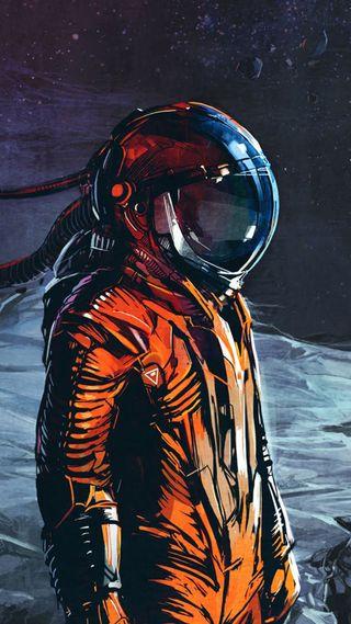 Обои на телефон самсунг, оранжевые, космонавт, галактика, samsung, s6, galaxy