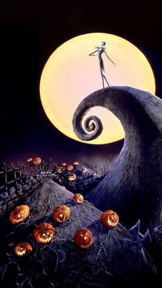 Обои на телефон тыква, хэллоуин, скелет, кошмар