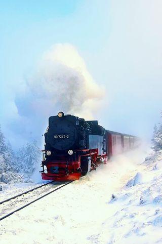 Обои на телефон поезда, снег, зима