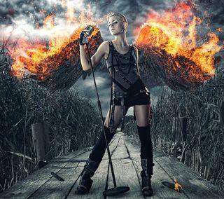 Обои на телефон крылья, темные, огонь, музыка, ангел
